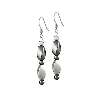 Ewige Sammlung Visage Silber und grau Hämatit Tropfen Ohrhänger