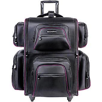 SHANY Total Jetsetter Reise Make-up Tasche - XL Soft Travel Cosmetics Bag mit mehreren Fächern & 10 kostenlose Make-up Veranstalter - Make-up Trolley & Rucksack - schwarz