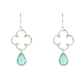 Latelita Clover Gemstone Drop Boucle d'oreille Silver Blue Topaz Hook Dangle Silver 925