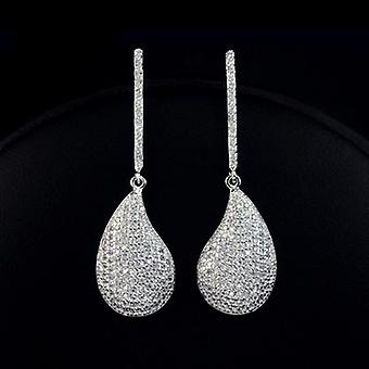 18K White Gold Plated Micro Cubic Zirconia Tear Drop Earrings, 3.7cm