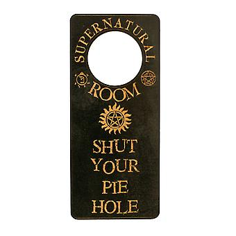 Door hanger - supernatural room - shut your pie hole 9x4in painted wood black