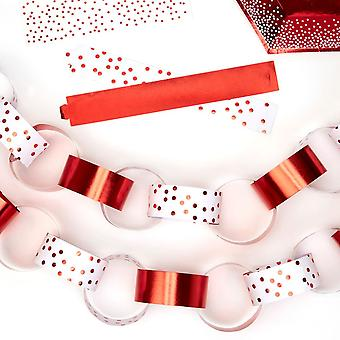 Christmas Paper Chain Decorations - Red Dotty Design - 50 Chains 2 Designs