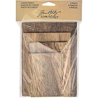 Idea-Ology Wooden Vignette Panels 4/Pkg-Brown TH93295