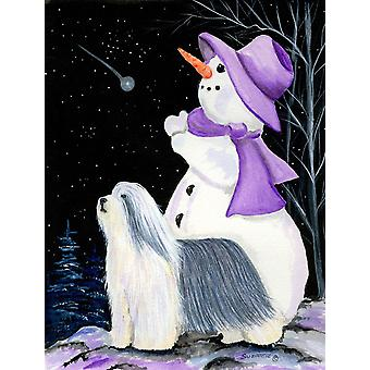 Snowman with Bearded Collie Flag Canvas House Size