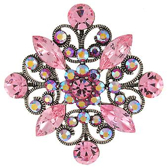 Brooches Store Vintage Rose Pink and AB Swarovski Crystal Filigree Diamond Brooch