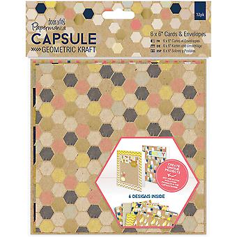 Papermania Geometric Kraft Cards W/Envelopes 6