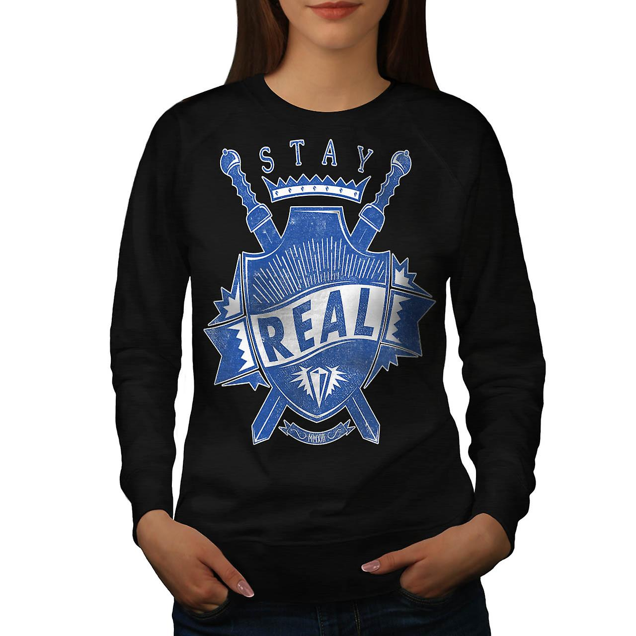 Stay Real Ambition Sword Shield Women Black Sweatshirt | Wellcoda