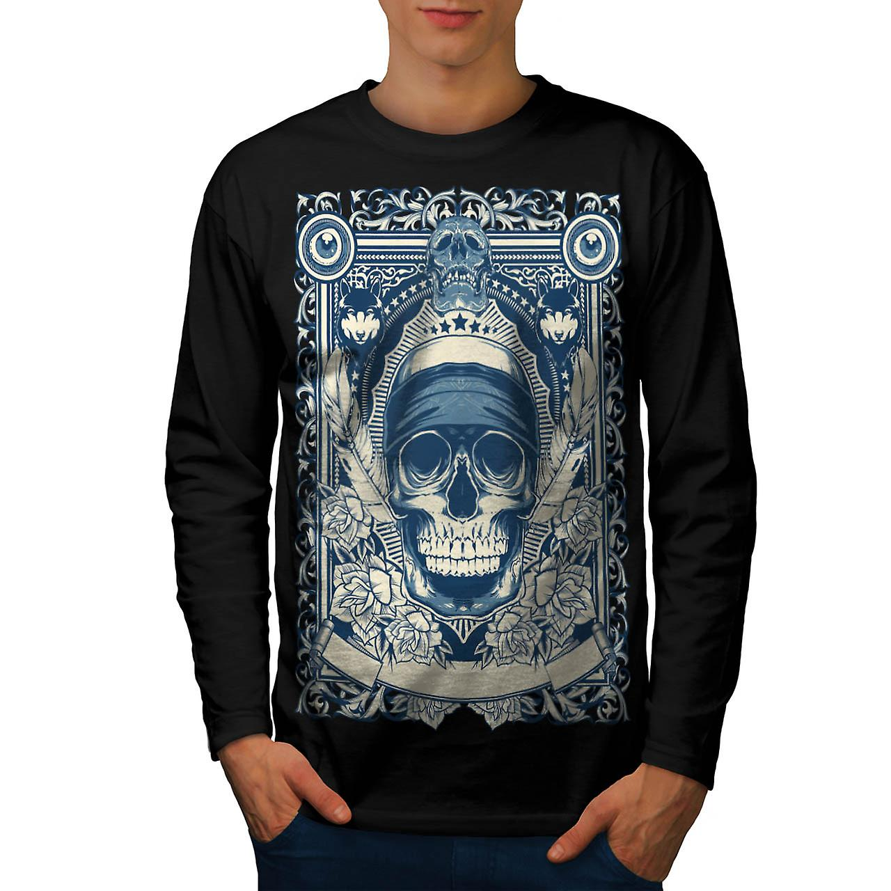 Skull Gangster Head Burial Card Men Black Long Sleeve T-shirt | Wellcoda