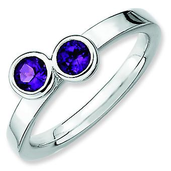 Sterling Silver Stackable Expressions Db Round Amethyst Ring - Ring Size: 5 to 10