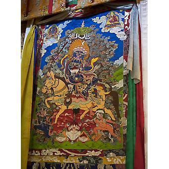 Thanka in tweede verdieping tempel in de Tsuglagkhang McLeod Ganj Dharamsala Himachal Pradesh India Poster Print