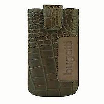 Bugatti slim leather case Croco size M in green