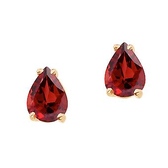 14k Yellow Gold Pear Shaped Garnet Earrings