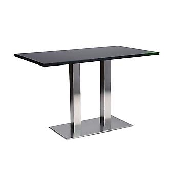 Daniella 120 Cm Extra Large Rectangle Dining Table Brushed Stainless Steel Twin Base