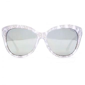 Guess Cateye Sunglasses In White Lace Effect