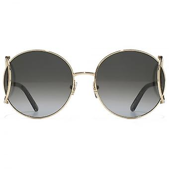 Chloe Jackson Round Racket Temple Sunglasses In Gold Grey