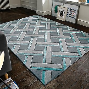 Botanical Parquet Rugs In Grey Duck Egg