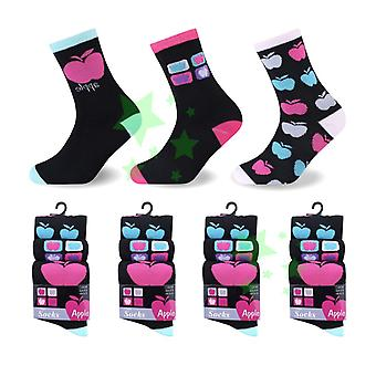 Fruit Apple ladies women Fashion Socks 4-6 Size 12 Pairs
