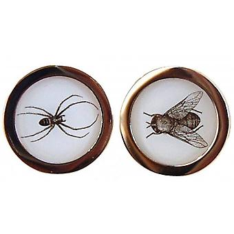 Tyler and Tyler Spider and Fly Capsule Cufflinks - Gold