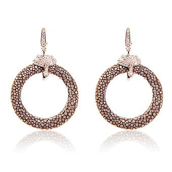 925 Sterling Silver Hoop Drop Earring Stingray Rosegold Brown Post Hinge