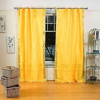 Gelbe Krawatte Top schiere Sari Vorhang / drapieren / Panel - paar