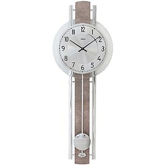 modern wall clock with pendulum quartz design synthetic leather on wood rear wall
