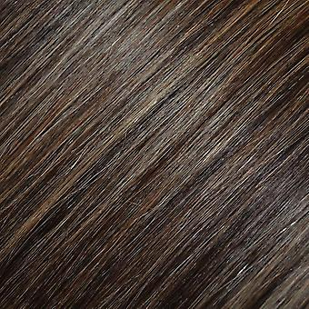 #4/18 - Dark Brown, Golden Blonde Highlights, FULL HEAD, Real Clip-in Hair Extensions - 100% Remy, Triple Weft, Thick Human Hair