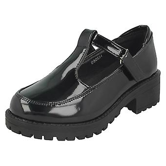 Girls Cool For School Mid Heel T-Bar School Shoes H3069