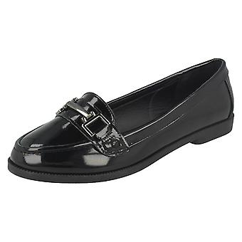 Ladies Spot On Flat Slip On Loafers F80297