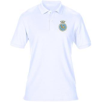 HMS Fantastiskt broderad Logo - officiell Royal Navy Mens Polo Shirt