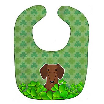 Carolines Treasures  BB6271BIB Dachshund Red Brown Shamrocks Baby Bib