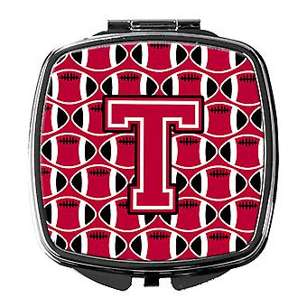 Letter T Football Crimson and White Compact Mirror