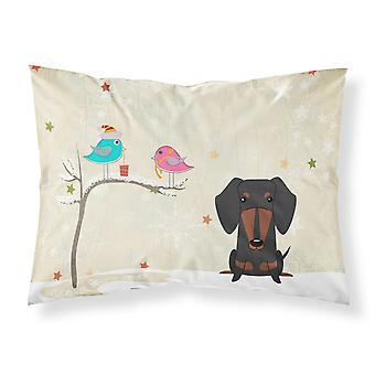 Christmas Presents between Friends Dachshund Black Tan Fabric Standard Pillowcas
