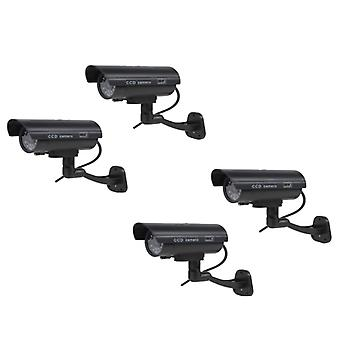 Kabalo 4 x Realistic Fake Dummy CCTV Security Camera Flashing Red LED Indoor Outdoor Black