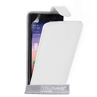 Yousave Accessories Huawei Ascend P7 Leather-Effect Flip Case - White