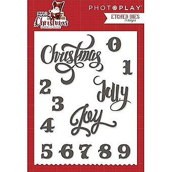 Photo Play Paper Etched Dies-Mad 4 Plaid Christmas Words MPC2881