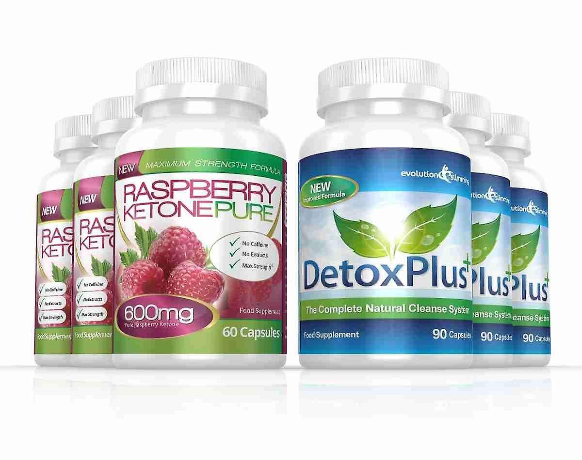 Raspberry Ketone Pure 600mg and DetoxPlus Cleanse Combo Pack - 3 Month Supply - Fat Burner and Colon Cleanse - Evolution Slimming