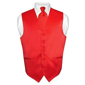 Men's Dress Vest & NeckTie Solid Neck Tie Set for Suit or Tuxedo