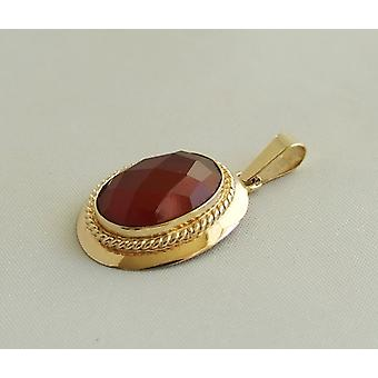 Gold Pendant with carnelian