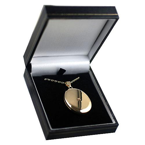 9ct Gold 35x26mm oval hand engraved Locket with a belcher Chain 16 inches Only Suitable for Children