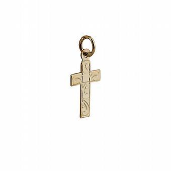 9ct Gold 15x11mm hand engraved flat latin Cross