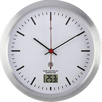 Renkforce E1003R Radio Wall clock 17 cm x 6 cm Silver Suitable for bathrooms/wet rooms
