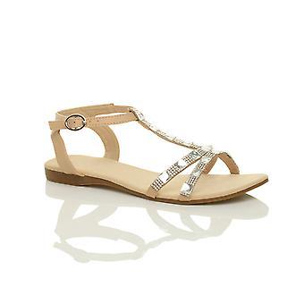 Ajvani Женская плоский пятки шарнира Диаманте камней лодыжку ремень летом сандалии Обувь
