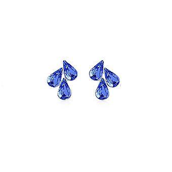 Dark Blue Womens Flower Leaf Pendant Stud Earrings BG1495