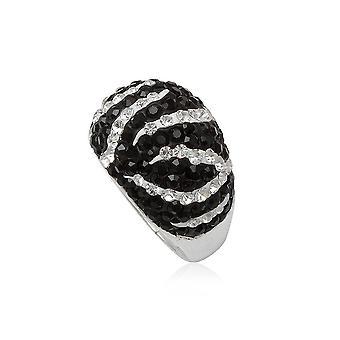 Ring Kuppel Crystal Zebra schwarz / weiß und Silber 925