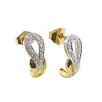 Bicolor diamonds ear studs