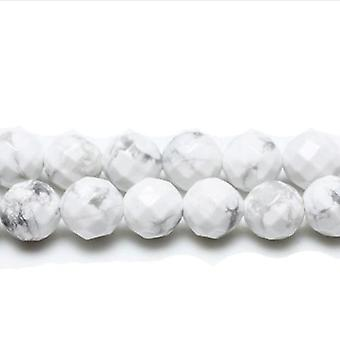 Strand 38+ White/Grey Howlite 10mm Faceted Round Beads GS10073-4