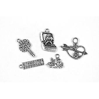 Packet 5 x Antique Silver Tibetan 13-25mm Love Charm/Pendant Set ZX17265