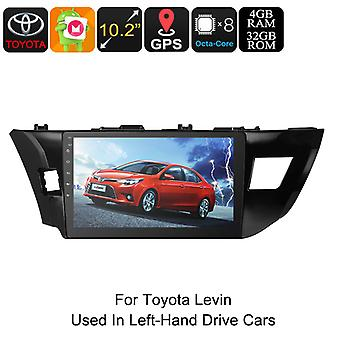 One DIN Car Stereo - For Toyota Levin, 10.2 Inch, HD Display, Android 8.0, GPS, Octa-Core, 4GB RAM, WiFi, 3G, CAN BUS, Bluetooth