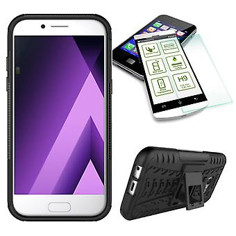 Hybrid case 2 piece black for Samsung Galaxy A3 2017 A320F + tempered glass