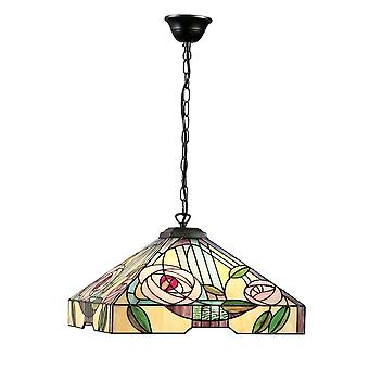 Interiors 1900 Willow Pink Rose Tiffany Square Ceiling Pendant